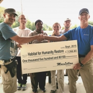 West Point, Georgia team presenting donation to Habitat Restore , LaGrange, Georgia.  The team has put in over 50 hours of volunteer time at the store.