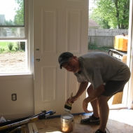 David Bacon spent the day working on a Habitat home.